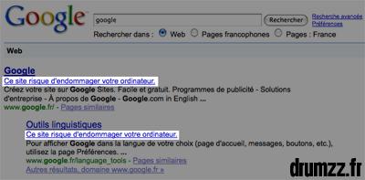 Bug Google Site Dangereux